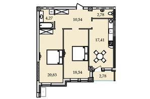 ЖК Premier Tower: планировка 2-комнатной квартиры 75.5 м²