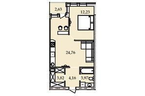 ЖК Premier Tower: планировка 1-комнатной квартиры 50.57 м²
