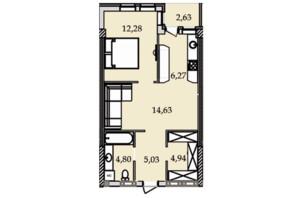 ЖК Premier Tower: планировка 1-комнатной квартиры 50.79 м²