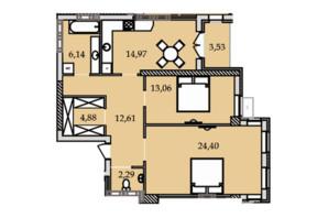 ЖК Premier Tower: планировка 2-комнатной квартиры 82.02 м²