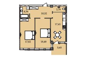 ЖК Premier Tower: планировка 2-комнатной квартиры 74.29 м²