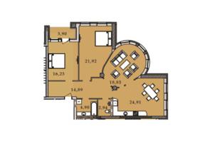 ЖК Premier Tower: планировка 3-комнатной квартиры 108.62 м²