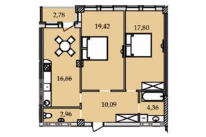 ЖК Premier Tower: планировка 2-комнатной квартиры 74.2 м²