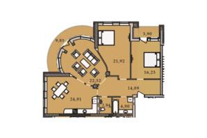 ЖК Premier Tower: планировка 3-комнатной квартиры 121.66 м²
