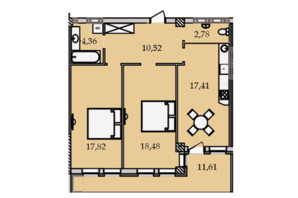 ЖК Premier Tower: планировка 2-комнатной квартиры 83.13 м²