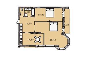 ЖК Premier Tower: планировка 2-комнатной квартиры 83.79 м²