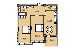 ЖК Premier Tower: планировка 2-комнатной квартиры 75.65 м²