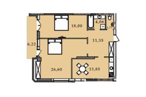 ЖК Premier Tower: планировка 2-комнатной квартиры 81.87 м²