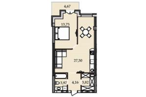 ЖК Premier Tower: планировка 1-комнатной квартиры 57.87 м²