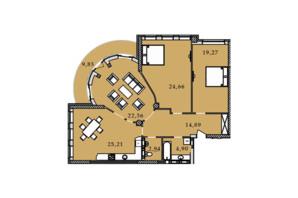 ЖК Premier Tower: планировка 3-комнатной квартиры 124.05 м²