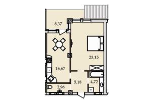 ЖК Premier Tower: планировка 1-комнатной квартиры 60.82 м²