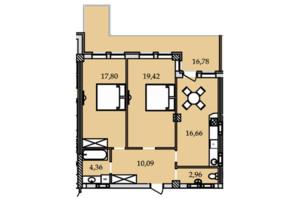 ЖК Premier Tower: планировка 2-комнатной квартиры 88.2 м²