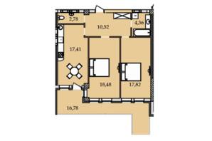 ЖК Premier Tower: планировка 2-комнатной квартиры 88.29 м²