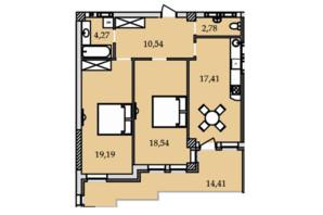 ЖК Premier Tower: планировка 2-комнатной квартиры 87.28 м²