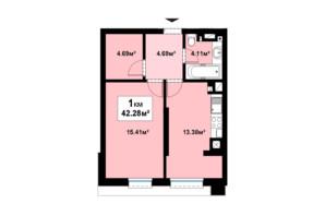 ЖК Прем'єра: планування 1-кімнатної квартири 42.28 м²
