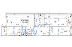 ЖК Premium  Hall: планировка 3-комнатной квартиры 98.59 м²