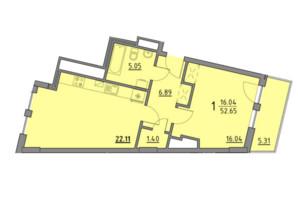ЖК Premium Praud: планировка 1-комнатной квартиры 52.65 м²