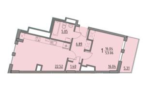 ЖК Premium Praud: планировка 1-комнатной квартиры 53.06 м²