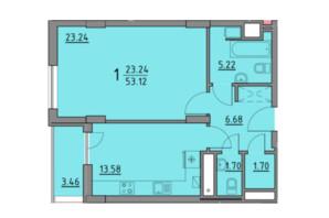 ЖК Premium Praud: планировка 1-комнатной квартиры 53.12 м²