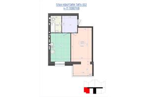 ЖК Премиум Парк: планировка 1-комнатной квартиры 44.48 м²