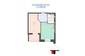 ЖК Премиум Парк: планировка 1-комнатной квартиры 45.19 м²