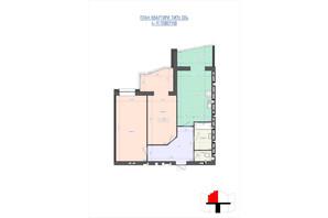 ЖК Премиум Парк: планировка 2-комнатной квартиры 77.47 м²