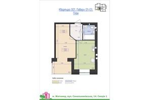 ЖК Премиум Парк: планировка 1-комнатной квартиры 39.02 м²
