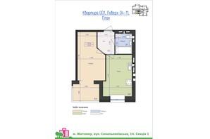 ЖК Премиум Парк: планировка 1-комнатной квартиры 39.55 м²