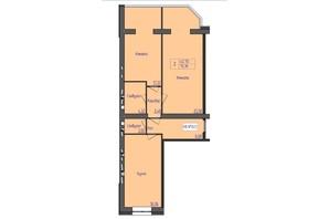 ЖК Премиум Парк: планировка 2-комнатной квартиры 75.19 м²