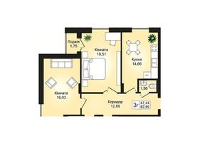 ЖК Prestige Hall (Престиж Холл): планування 3-кімнатної квартири 82.89 м²