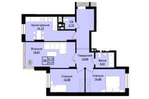 ЖК Prestige Hall (Престиж Холл): планування 3-кімнатної квартири 84 м²