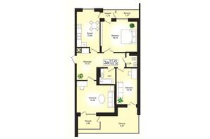 ЖК Prestige Hall (Престиж Холл): планування 3-кімнатної квартири 102.26 м²