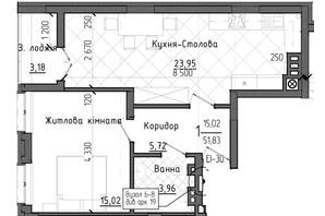 ЖК Престижний 2: планування 1-кімнатної квартири 51.83 м²