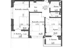 ЖК Престижний 2: планування 2-кімнатної квартири 68.77 м²