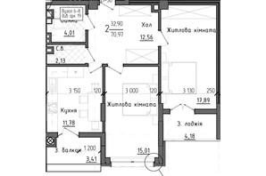 ЖК Престижний 2: планування 2-кімнатної квартири 70.97 м²