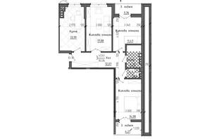 ЖК Престижний 2: планування 3-кімнатної квартири 82.06 м²