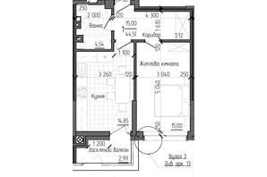 ЖК Престижний 2: планування 1-кімнатної квартири 44.5 м²