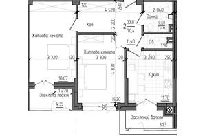 ЖК Престижний 2: планування 2-кімнатної квартири 70.4 м²