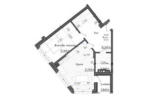 ЖК Престижний 2: планування 1-кімнатної квартири 61.45 м²
