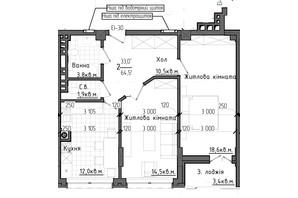ЖК Престижний 2: планування 2-кімнатної квартири 64.55 м²
