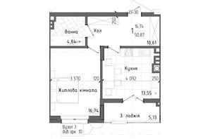 ЖК Престижний 2: планування 1-кімнатної квартири 50.87 м²