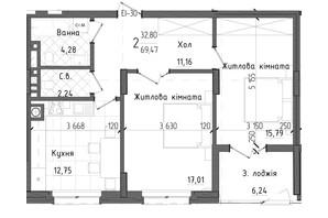 ЖК Престижний 2: планування 2-кімнатної квартири 69.47 м²
