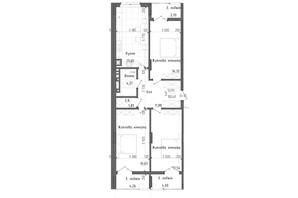 ЖК Престижний 2: планування 3-кімнатної квартири 100.48 м²