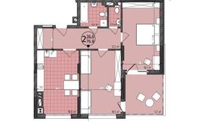 ЖК Престижний: планування 2-кімнатної квартири 78 м²