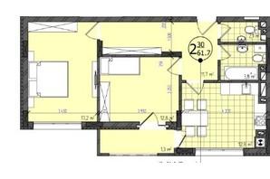 ЖК Престижний: планування 2-кімнатної квартири 62 м²
