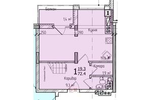 ЖК Престижний: планування 2-кімнатної квартири 73 м²