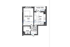 ЖК Престижний: планування 1-кімнатної квартири 39.8 м²