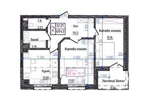ЖК Престижний: планування 2-кімнатної квартири 69.43 м²