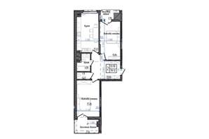 ЖК Престижний: планування 2-кімнатної квартири 78.12 м²