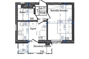 ЖК Престижний: планування 1-кімнатної квартири 38.04 м²